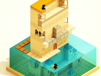 Monument Valley Fan Art voxel art water orange minecraft lego isometric colombia monument games magicavoxel voxelart voxel