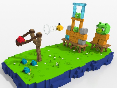 Angry Birds - Voxel Art