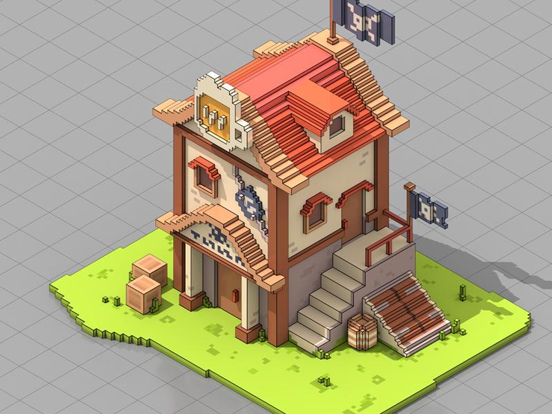 Piratavern minecraft render colombia isometric magicavoxel voxel art