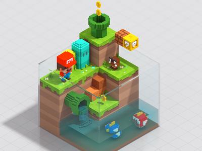 Little Mario 3d isometric magicavoxel voxel art nintendo colorfull mario bros