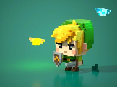 The Legend of Zelda nintendo retro 8bit voxel magicavoxel voxel art link zelda the legend of zelda