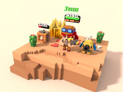 Jessie - Brawl Stard cute character design chibbi 3d magicavoxel voxel art brawl stars