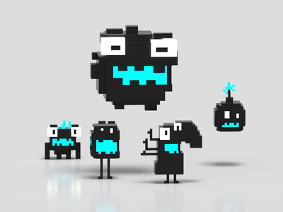 Kawaii characters in 3 colors characterdesign render minecraft magicavoxel voxelart 3d art cute kawaii