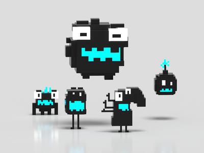 Kawaii characters in 3 colors