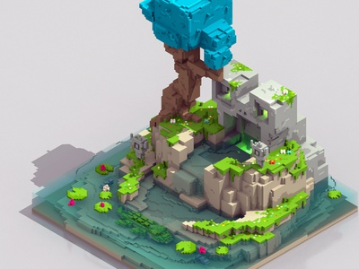 Frog Pond game art isometric minecraft 3d voxelart magicavoxel pond frog