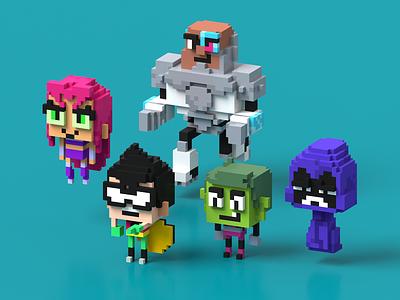 Teen Titans Go - fan art little cute kawaii 3d voxel magicavoxel voxel art dc fanart