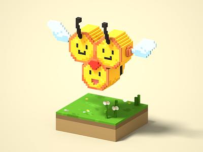 Combee bee cute kawaii 3d voxel voxel art magicavoxel fan art pokemon
