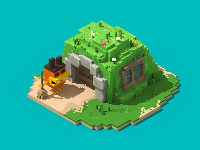 Little House minecraft lego characterdesign cute kawaii voxelart magicavoxel