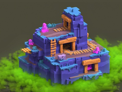 Brawl Stars Mine minecraft pixel game 3d magicavoxel voxelart