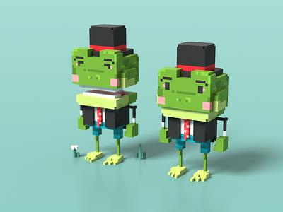 Rin Rin cute kawaii frog characterdesign 3d voxelart voxel magicavoxel voxel art