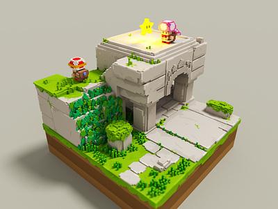 Captain Toad voxelart 3d art voxel 3d magicavoxel fanart