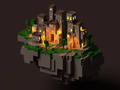 Aerial City pixel gameart colombia voxel 3d illustration minecraft retro voxelart magicavoxel
