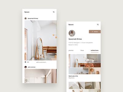 Håven Concept photo app gallery interior design app  design app concept profile