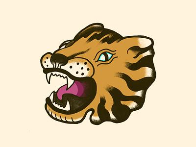 Tiger flash ps hand drawn illustration tiger