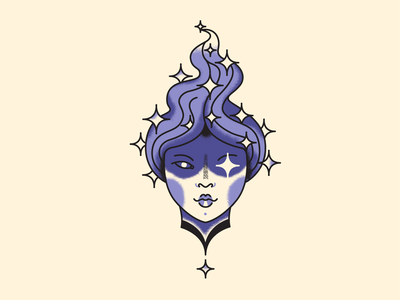 Stars and shine purple hair purple face mask girl character tattoo face art vector illustration star