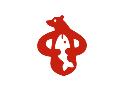 the bear and the fish eat its simple graphic graphicdesign design red fish bear icon