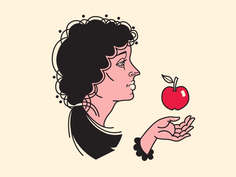 Modern Eve hand girl face girl simple art line art line vector vector art bible eve face apple illustrator illustration