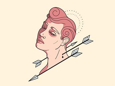 Modern St. Sebastian homosexual gay gloria halo arrow portre saint vectorart vector illustrator illustation