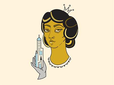Saint Barbara face women vecor religion saint building yellow illustration art illustration portre vector art vector