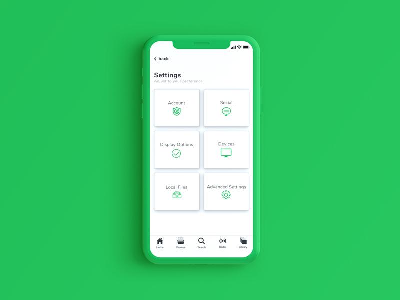 Spotify Settings simple ux card preferences account profile settings setting dailyui ui