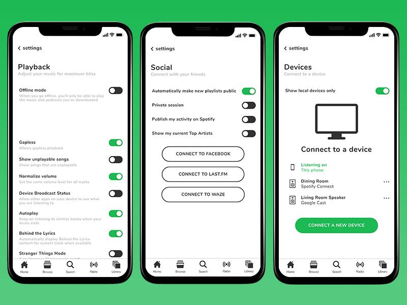 Spotify Settings Screens by Reed Ellard on Dribbble