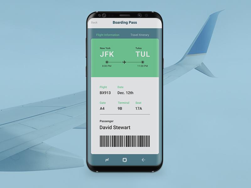 Boarding Pass DailyUI #24 ux ui samsung s8 ticket dailyui boarding pass
