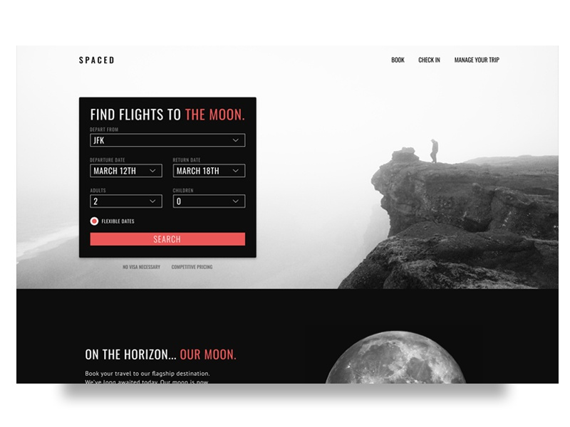 SPACED Homepage landing homepage light dark ux ui travel spacedchallenge spaced space moon