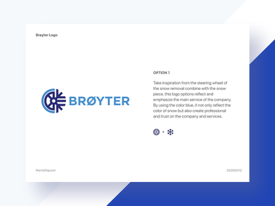 Brøyter_Option 1 - Logo Design icon typography vector branding logo illustration dribbble blue design