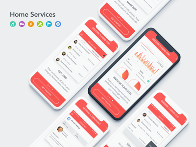 Home Services   Onboarding chart manager analytics red stock home services tutorial app mobile illustrations onboarding