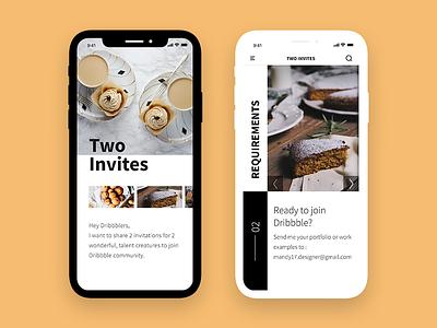 Two Dribbble Invites dessert brown app mobile invites dribbble two