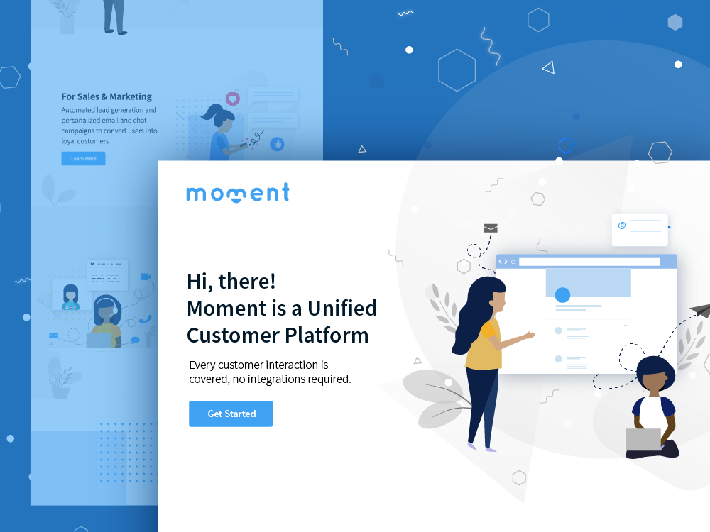 Moment targeted messaging automessage plaform integrated conversion calling lead generation email message leaves human people crm portal chat landing page illustration design