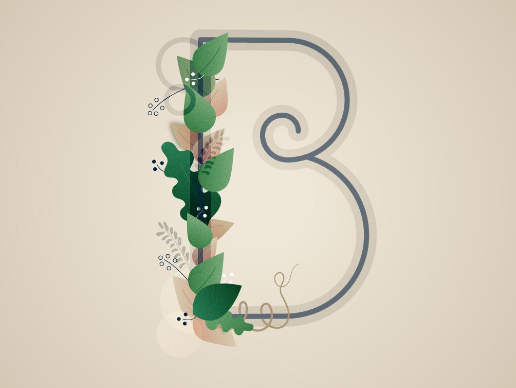 B art botanical vines leaf leaves typography lettering letter b b letter 36daysoftype-b 36daysoftype