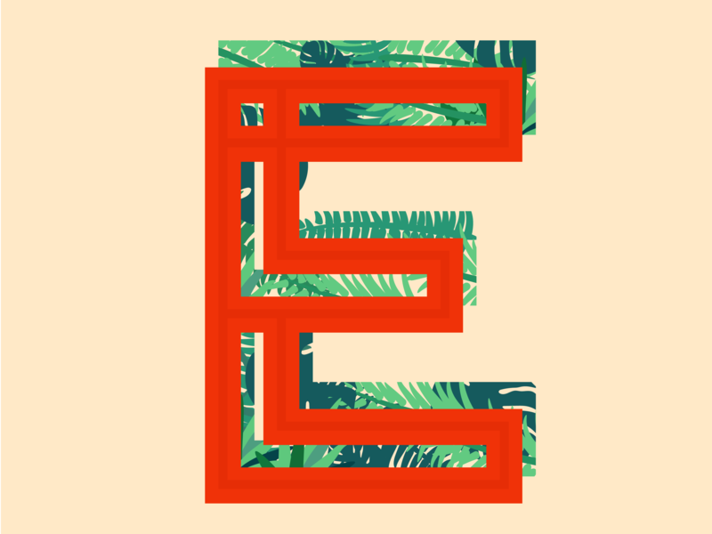 E palm beach vines leaves 36daysoftype-e 36daysoftype letter e lettering letters type typography e letter illustration design