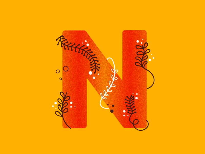 N leaf letter n n 36daysoftype n 36daysoftype-n vines vine branding vector ui logo leaves 36daysoftype typography lettering letter illustration design