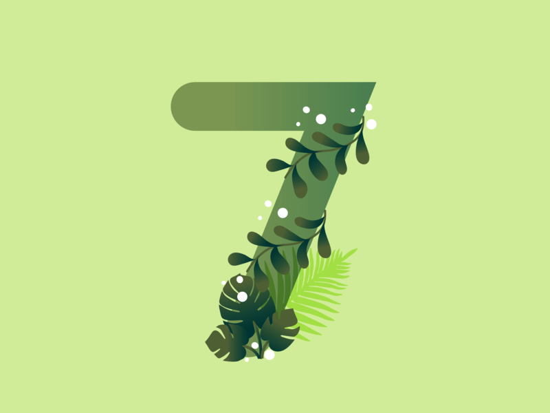 7 vines tropic tropical 36daysoftype07 37daysoftype-7 36daysoftype 7 seven leaf leaves 36daysoftype typography lettering letter illustration design