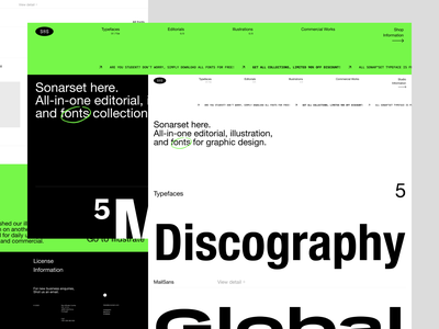 Sonarset™ Official Site editorial ecommerce typography store agency ui minimalist web design interface uiux