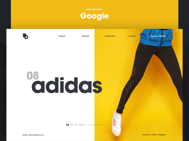 Endoestri simple minimalist store shop e-commerce agency web design yellow homepage ui