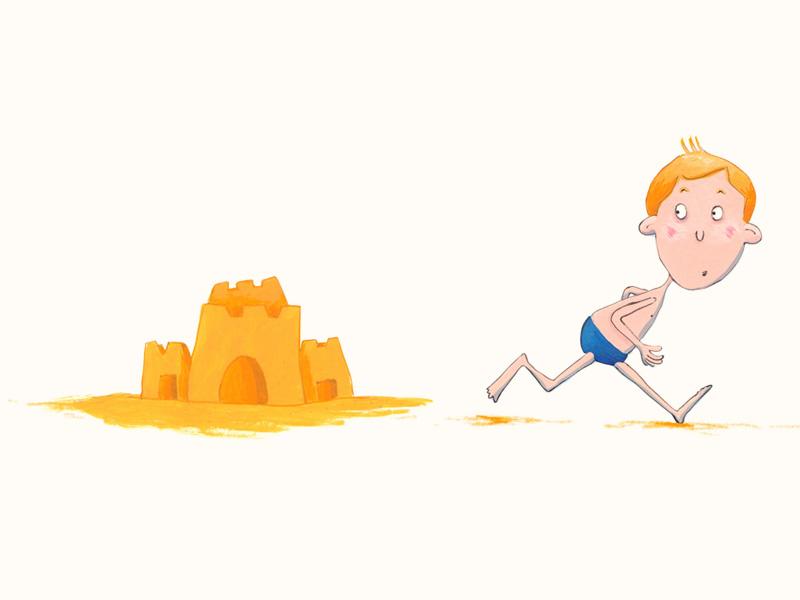 Frightened boy summer sea sandcastle frightened illustration acrylic digital
