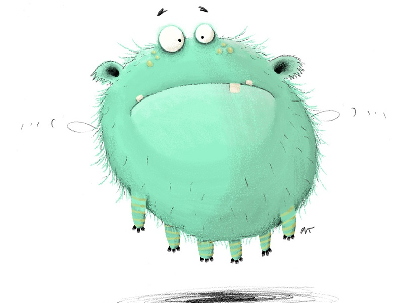 Confused look monster illustration digital 2d round cgma class