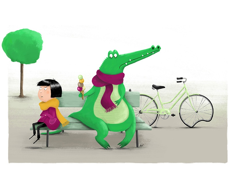 Friends girl crocodile bicycle illustration digital cgma