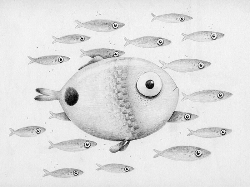It's ok to be different picture book childrens illustration pencil sketchbook fish