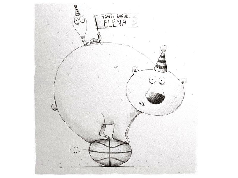 Bear for Elena worm birthday bear pencil illustration