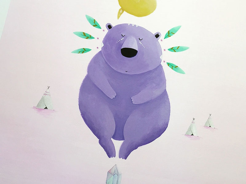 Spirit animals painting owl otter bear acrylic illustration
