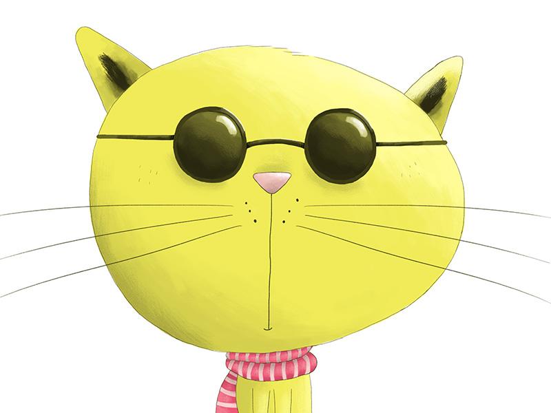 Hipster Cat greeting card illustration digital shades cat