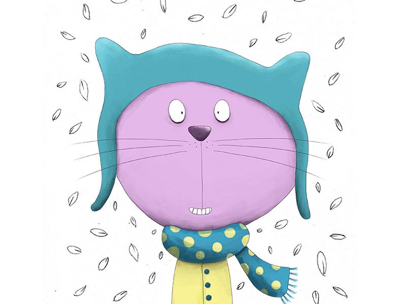 Autumn cat greeting card cat digital illustration