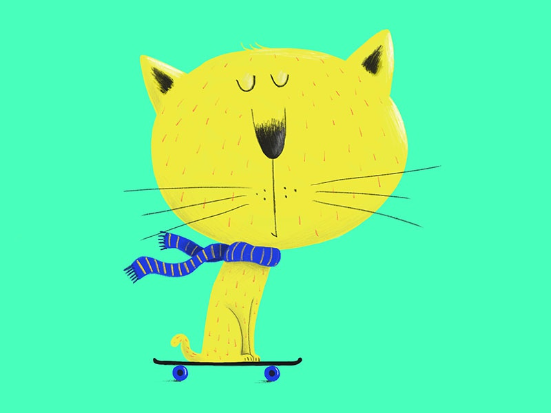 Cat on skate procreate childrens illustration ipad pro skateboard cat