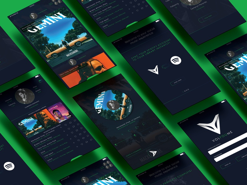 VOLYOUME // App Screens Mock Up app designer interactive ui ux app design mockup up mock screens app