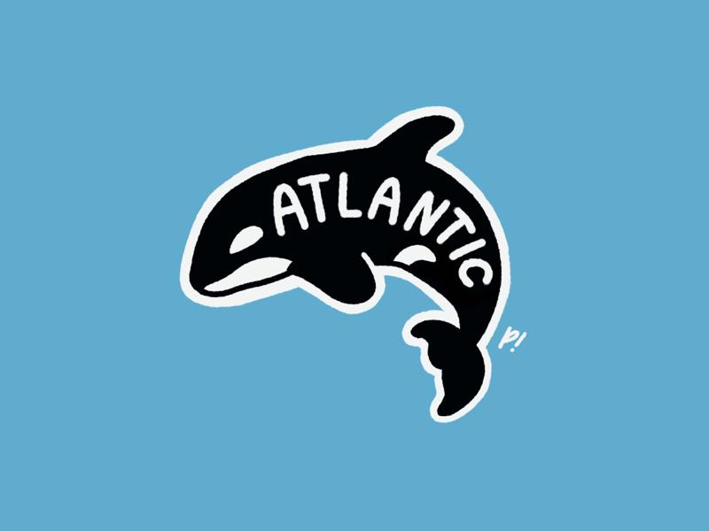 ATLANTIC. a word on a whale. sticker patch vector texture tattoo simpleillustration shape procreate print logo linework illustration handrawn hand drawn grain distorted design branding