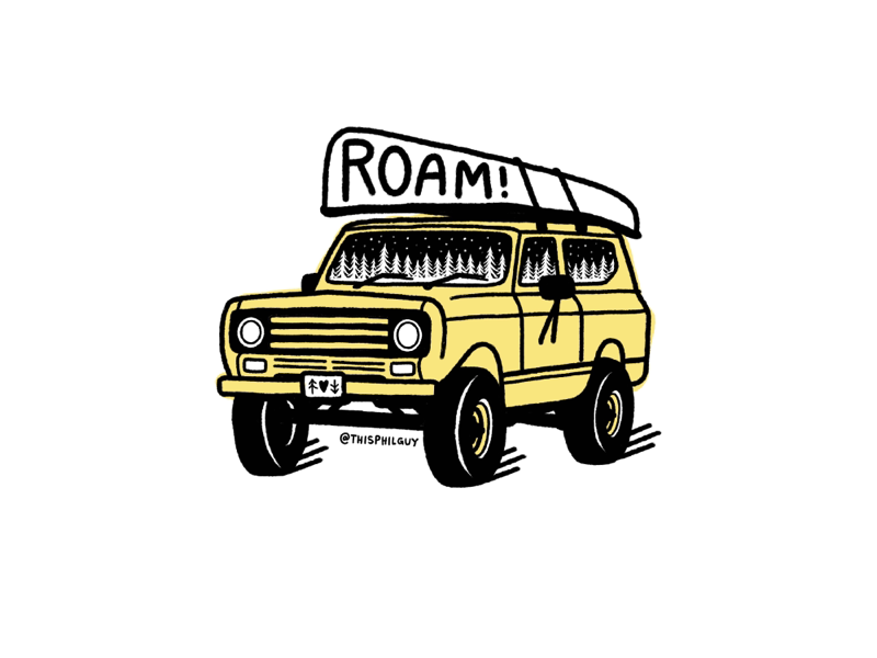 ROAM! 🚍🚣‍♂️ vanagon van sticker patch vector texture 4x4 roam simpleillustration shape procreate print logo linework illustration handrawn hand drawn grain design branding