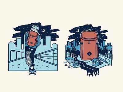Cruising in the city (2 of 2) skateillustration skate skateart vanagon van sticker patch grain distorted vector texture simpleillustration procreate print logo linework illustration handdrawn design branding